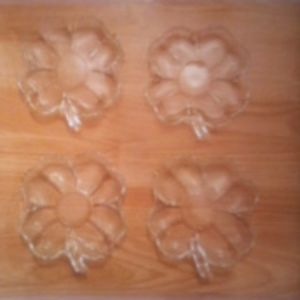 "Set of 4 depression glass 5""  floral plates"